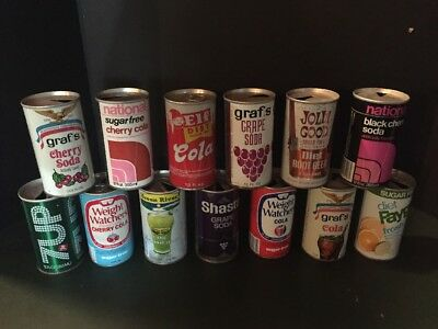13 Vintage Empty Soda Pop Cans  Graf's, Shasta, Weight Watchers, Elf, National