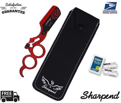 SHARPEND  BARBERS CUT THROAT RAZOR SET COMPLETE WITH BLADES AND POUCH+FREE POUCh