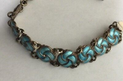 Vintage Meka Reklamegaver Sterling Silver Bracelet with Blue Enamel Links 7 1/4""