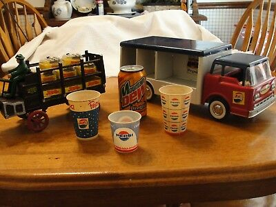 PEPSI COLA Soda Truck DeliveryWagon Cups Mountain Dew Livewire Can 6 Items WOW!!
