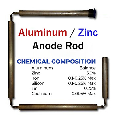Blue Lightning Aluminum / Zinc Flexible Anode Rods, Hex Plug, 42""