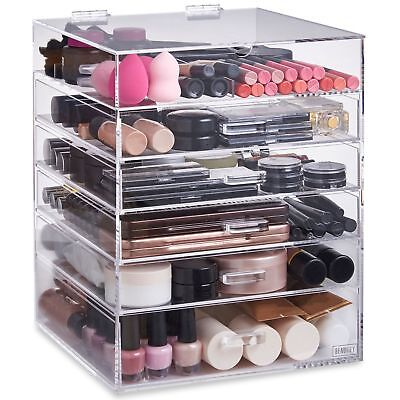 Beautify Extra Large 6 Tier Clear Acrylic Cosmetic Makeup Storage Cube Or... New