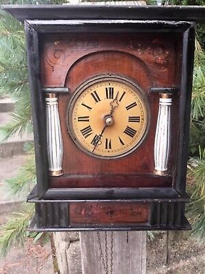 German  Black Forest Wood Plated Clock for parts or repair runs strikes