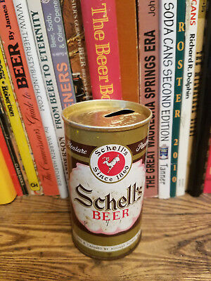 Schell's 12oz Pull Tab Beer Can  early instructional pull lid