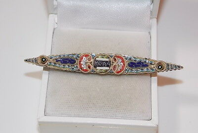 Vintage Antique Italian Micro Mosaic ROME ROMA Silver Brooch OLD Pin ITALY 5c 33