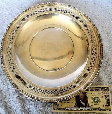 """Sterling Silver 11"""" Reticulated Plate 306 Grams Early 20th Century"""
