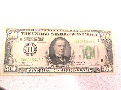 Key1928 Gold Certificate $500 Note Five Hundred Dollar Bill Saint Louis District