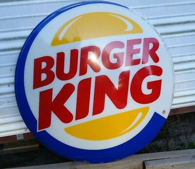 """Vintage 30"""" Round Burger King Logo Advertising Store Sign, Recently Removed !!!!"""