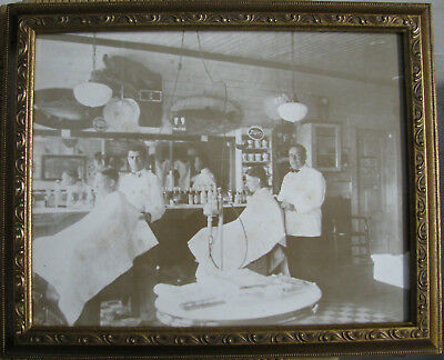 Vintage Barber Shop picture framed Black & White