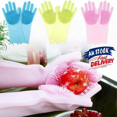 New 1 Pc Magic Silicone Scrubber Rubber Dish Washing Cleaning Gloves Sponge AU