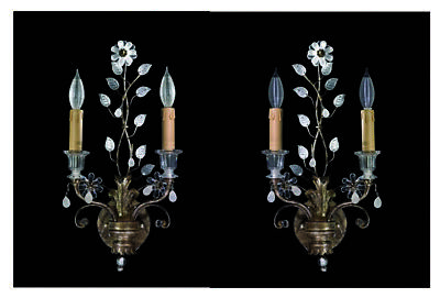 Pair of Elegant and Beautiful Savoy House Antique Silver/Gold & Crystal Sconces