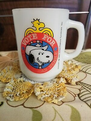 Vintage Fire King Snoopy Mug Vote for the American Beagle