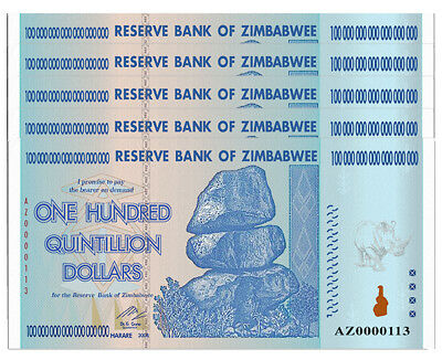 5 X Zimbabwee 100 Trillion Dollars, AZ/2008, P-91, UNC, 100 Quintillion Series