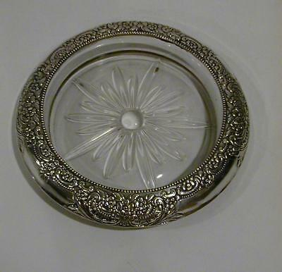 "Pretty Antique Frank Whiting Sterling Floral Champagne Coaster 6 7/8"" wide"