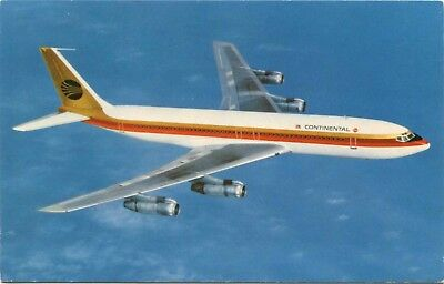 (#575) Continental Airlines Boeing 707 Jet Airplane in Flight 1960s Postcard