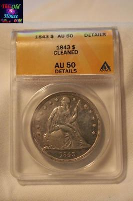 US COIN SILVER 1843 SEATED LIBERTY DOLLAR ANACS AU-50 90% Silver GRADED 4632093