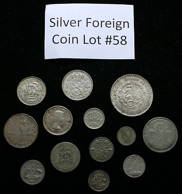 Foreign Silver Coin Lot: Collection of Old World Silver Coins #58