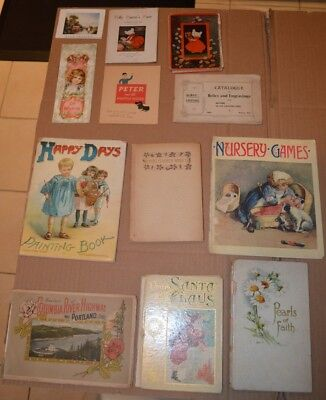Fine Lot of 12 Antique Victorian Books & Booklets 1880's to 1910's - No Reserve