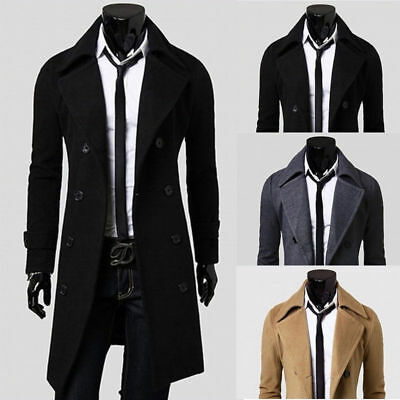 Mens Winter Trench Coat Double Breasted Long Jacket Dress Shirt Overcoat Outwear