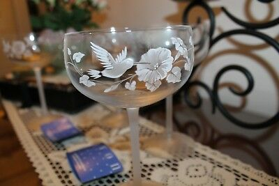 Four (4) 24% Lead Crystal Avon Hummingbird Champagne Glasses - Brand New In Box