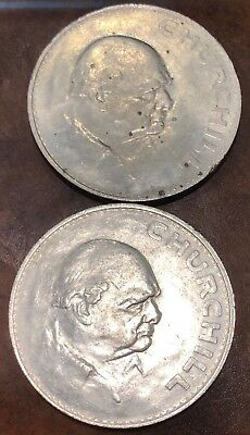 Two 1965 Churchill Crown UK Great Britain England 5 Shilling Coins