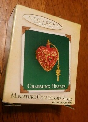 Red Charm Hallmark Miniature Ornament 2004 Charming Hearts-2nd In Series-Opens