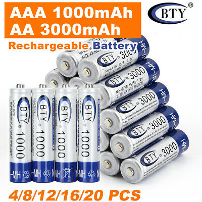 4-20x Rechargeable Battery NI-MH 1.2V 3000mAh AA/1000mAh AAA Recharge Batteries