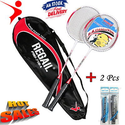 Regall Badminton Racquet - 2Player Set-Racket & Shuttlecocks Set/ Grip Sweatband