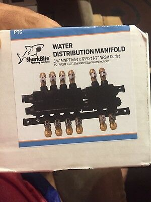 """New SharkBite 12 Outlets 3/4"""" Home Run Manifold with 1/2"""" (Open Box)!!"""