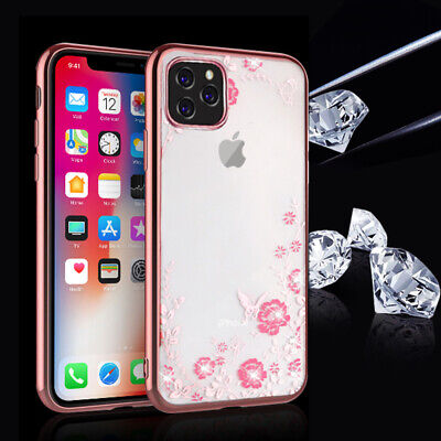For iPhone 11 Pro XS Max XR XS X Crystal Bling Bumper TPU Soft Clear Case Cover