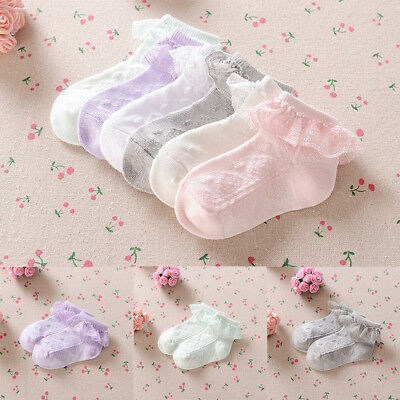 Cute Baby Lace Sock Thin Solid Color Breathable Short Cotton Ankle Sock Gifts