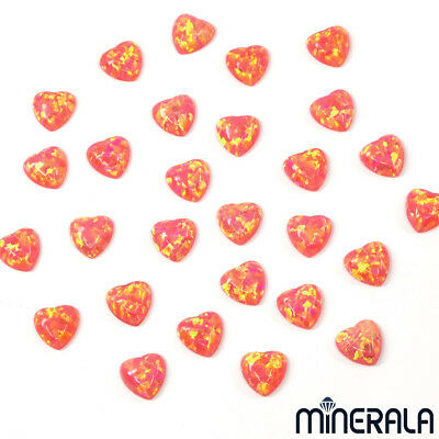 [WHOLESALE] SYNTHETIC LAB CREATED OPAL PINK CORAL HEART SHAPE 6mm CABOCHON