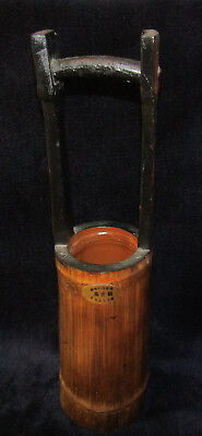 """VINTAGE BAMBOO IKEBANA VASE with Label Japanese Chinese 14 1/2"""" Tall x 4"""" W"""