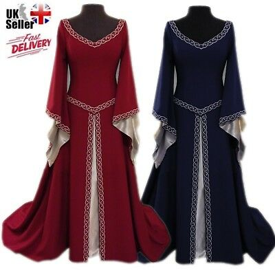 Halloween Medieval Renaissance Women's Vintage Gown Dress Party Costume Cosplay