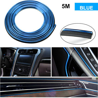 5M Blue Line Car Universal Interior Gap Decorative Auto Accessories Chrome Shiny