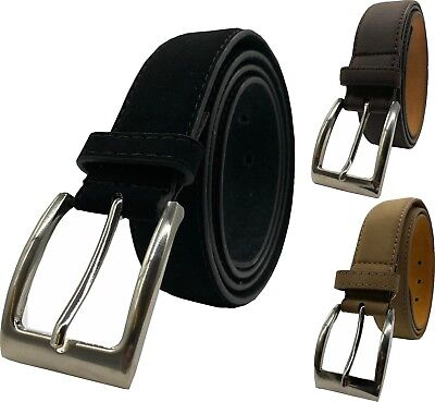 "Mens Real Leather Belt 100% Black Tan Brown XL-XXL 1.25"" Buckle Forest Belts"