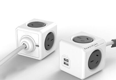 PowerCube by Allocacoc1.5m Extended USB Powerboard 4 Power+2 USB Port 2.1A GREY