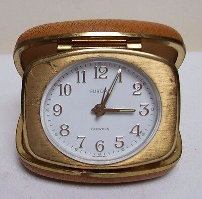 """EUROPA 2 JEWELS GERMANY WIND UP TRAVEL CLOCK IN FOLD UP CASE 3"""" VINTAGE 1960's"""