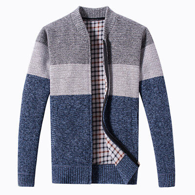 Mens Fashion Classic Zip Up Collarless Jumper Winter Autumn Knitted Cardigan