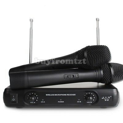 Pro 2 Channel VHF Wireless Dual Handheld Microphone Mic System Metal Receiver JS