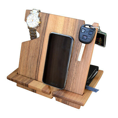 Wood Phone Docking Station Walnut Key Holder Wallet Stand Watch Organizer