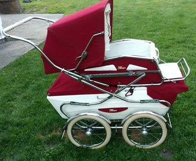 Vintage Perego Pram Carriage Stroller Made in Italy Maroon