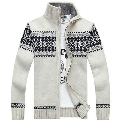 Mens Classic Zip Up Thick Velvet Winter Autumn Knitted Cardigan Jumper Cardigan