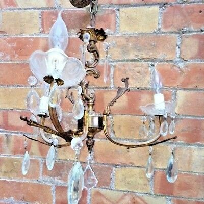 2 (Pair) Beautiful  Genuine Vintage French Gilt 3 Arm Crystal Chandeliers
