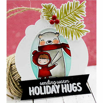 Christmas Cards Tags Frame Metal Cutting Dies Embossing Stencil for Paper Craft~
