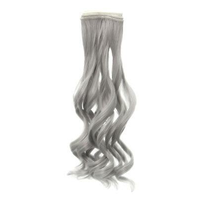 Long Curly Wig Hair for BJD SD Barbie Doll Silver Gray 25cm DIY Making