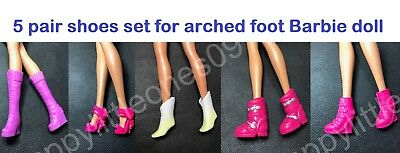5 pair set Mattel Barbie Doll Shoes/Boots for Arched Foot for Barbie Dress New