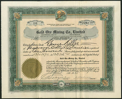 Canada: Gold Ore Mining Co. Ltd., 10cent shares, 1925