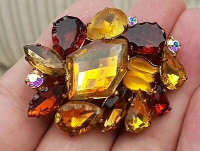 Vintage Art Deco Jewellery Beautiful Amber Citrine Agate Cluster Gold Brooch Pin