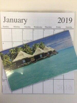 1-2019-2020    SEA HUTS ON BEACH  2 Year  Pocket Calendar planner